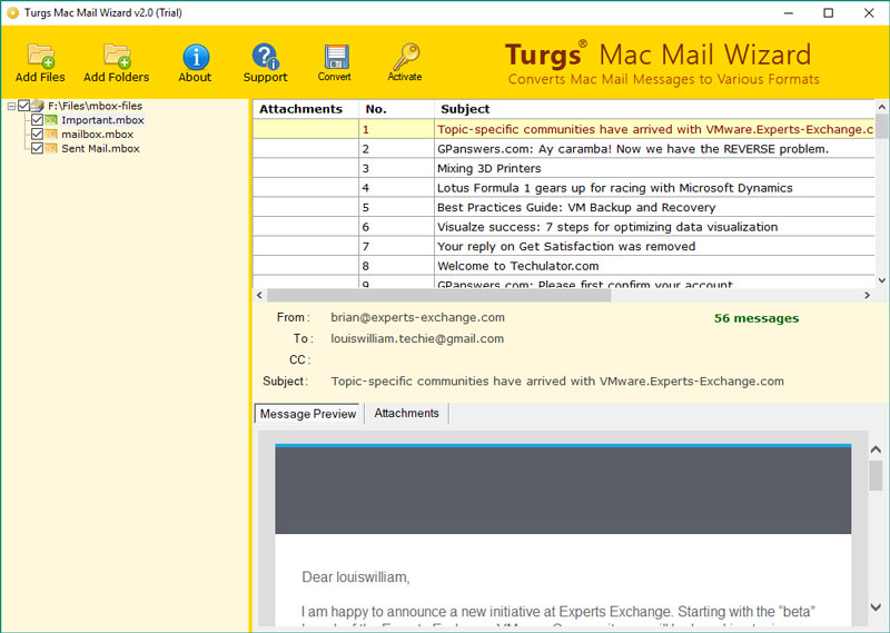 Apple Mac Mail MBOX Converter to import Apple Mac Mail MBOX